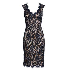 Eliza J Navy V-Neck Lace Sheath Dress SZ 2